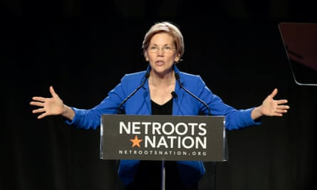 Elizabeth Warren addresses the audience at the morning plenary session at the Netroots Nation conference for political progressives in Atlanta, Georgia.