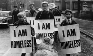 A march to the house of the housing minister, Sir Keith Joseph, to protest against homelessness, London, 1962.