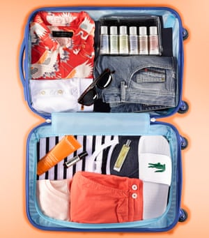 fully packed suitcase for men