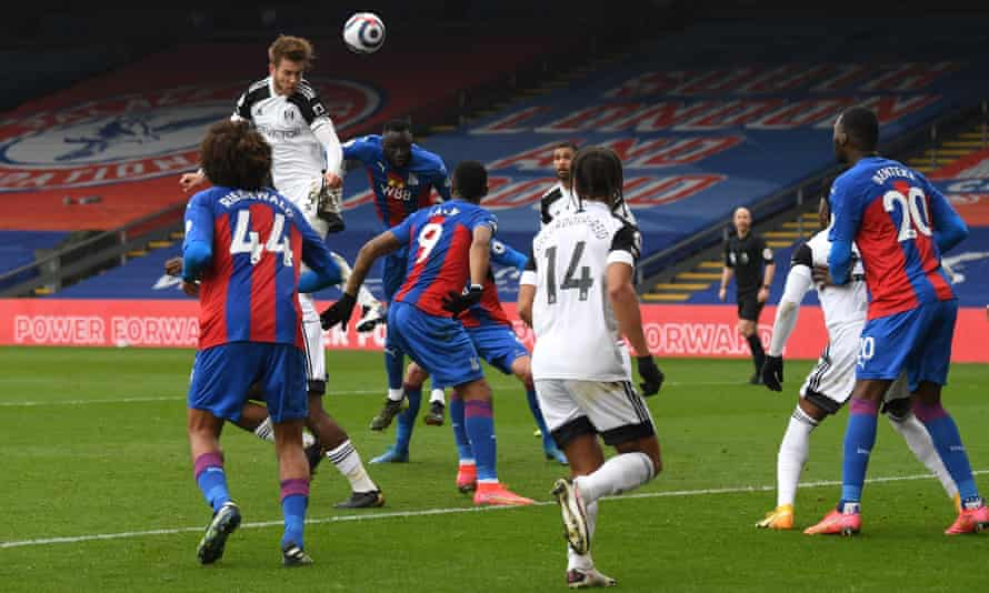 Joachim Andersen of Fulham wins a header during the Premier League match against Crystal Palace at Selhurst Park