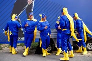 The Bananamen take a refreshment break