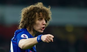 David Luiz gives out instructions during Chelsea's 2-0 defeat against Arsenal at the Emirates.