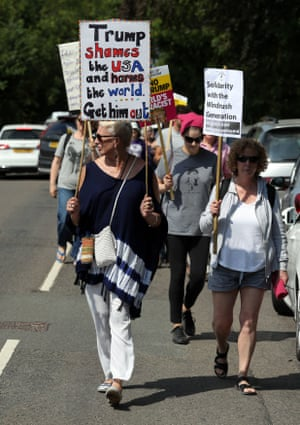 Demonstrations in Butler's Cross, Buckinghamshire, near Prime Minister Theresa May's country residence of Chequers where she is currently meeting with Donald Trump