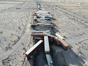 A derailed cargo train near Ludlow in the southern California desert, US
