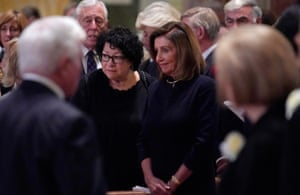 Nancy Pelosi attends the funeral of Cokie Roberts in Washington.