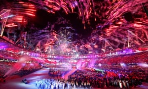 Fireworks light up the sky during the closing ceremony of the London 2012 Olympic Games.