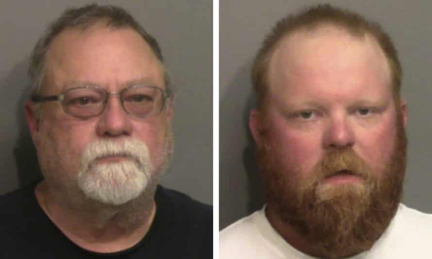 Gregory and Travis McMichael in a police photo in May. The McMichaels were charged with murder and aggravated assault. Bryan was charged with murder and attempt to illegally detain and confine.
