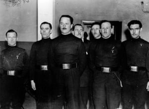 Oswald Mosley, centre, with members of the British Union of Fascists, including William Joyrce – AKA Lord Haw-Haw – on the left.