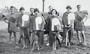 Angus McBean's Body of Gleemen and Gleemaidens, Gleemote, 1929, showing Kibbo Kift members in homemade costumes.