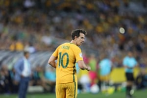 Second-half substitute Robbie Kruse looks over his shoulder as the clock wears down.