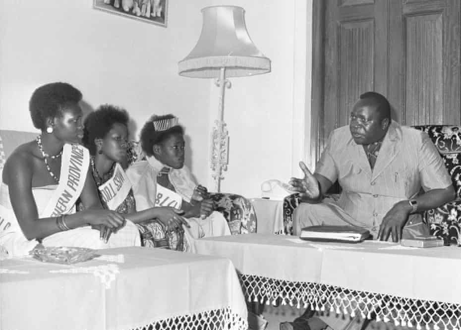 Miss Tourism girls visit Amin at State House in 1978.