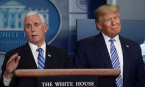 Donald Trump with Mike Pence, the leader of Trump's coronavirus taskforce. More than 46,000 people in the US have been diagnosed with Covid-19 and nearly 600 have died.