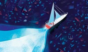 Illustration of Greta Thunberg on sailboat