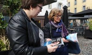 An activist hands out En Marche! leaflets in Quimper, western France