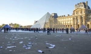 Louvre courtyard with torn collage