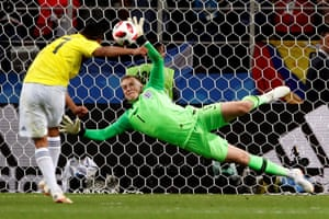 Goalkeeper Jordan Pickford saves the penalty from Carlos Bacca of Colombia and give England the chance to win the shoot out after the full time and extra time score was 1-1.