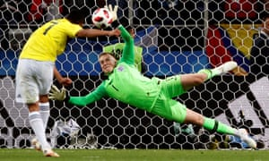 Jordan Pickford saves Colombia's fifth penalty from Carlos Bacca to finally put England in charge in the last-16 shootout.