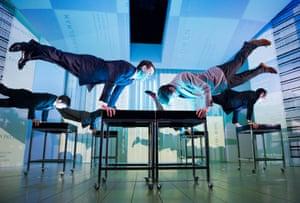 Matt Smith (Patrick Bateman) and Ben Aldridge (Paul Owen) in American Psycho, Almeida theatre, London, 2013