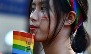 A participant in the annual Hanoi Pride parade