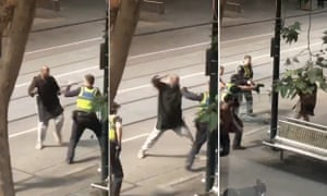 Three way composite of the attack on police officers in Melbourne.