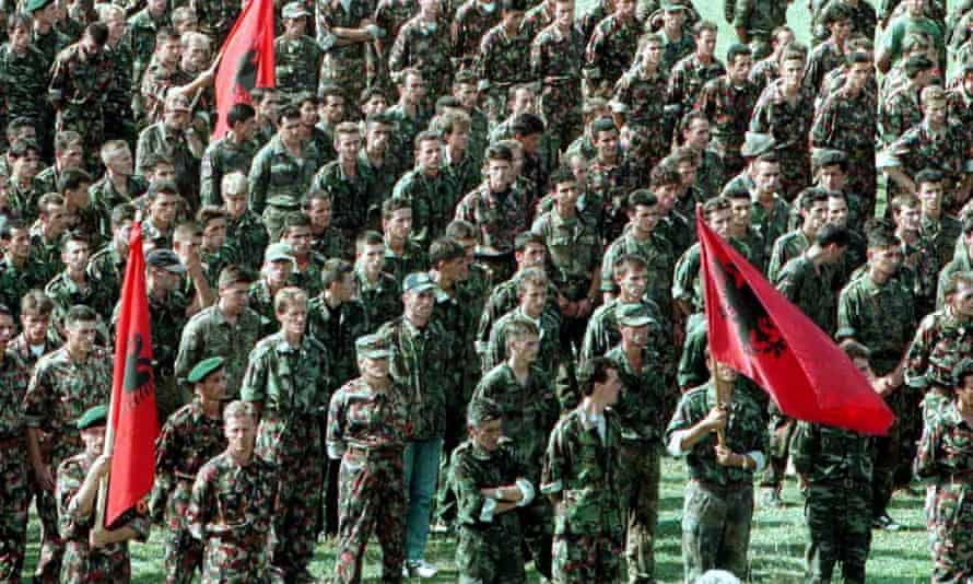 Kosovo Liberation Army fighters at a parade in Skenderaj in 1999