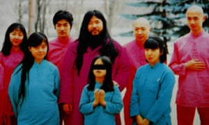 a follower's picture of Aum leader Shoko Asahara (centre) with family and disciples.