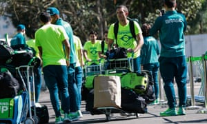 Members of the Brazilian national field hockey team arrive at the Olympic Village on Sunday.