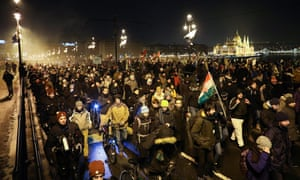 Thousands protest against the new overtime law in Budapest, Hungary