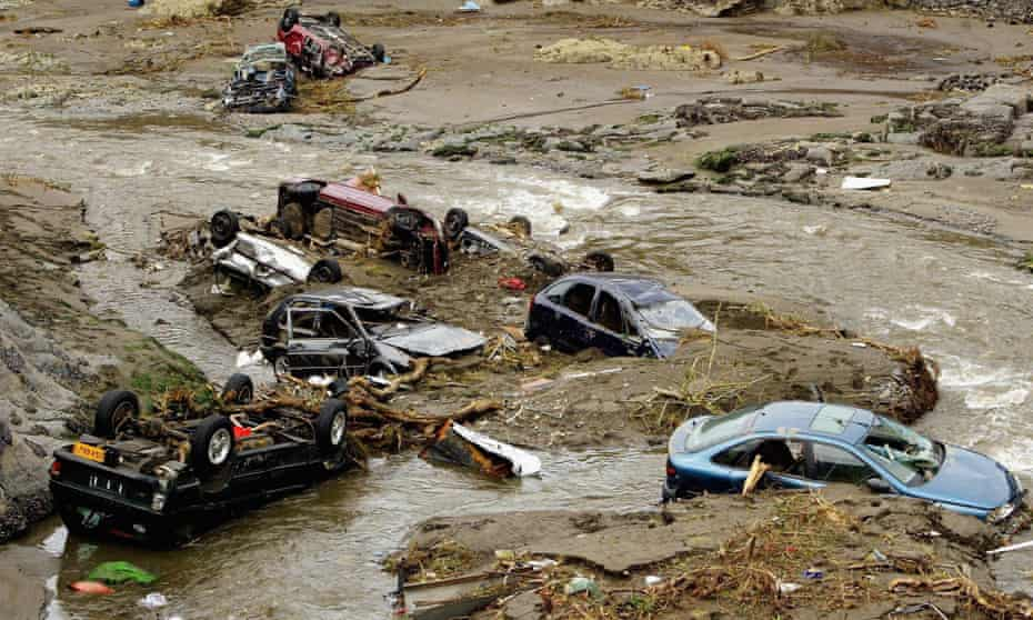 Flood damage in Boscastle, Cornwall, in August 2004