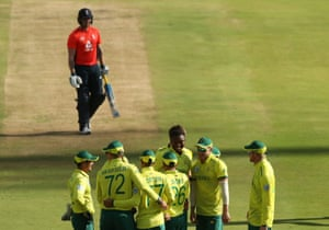 Ngidi celebrates taking Roy for seven.