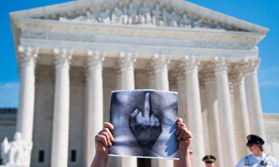 'It's time for women to be heard': A protest outside the supreme court.
