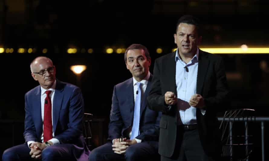 Labor leader Jay Weatherill, Liberal leader Steven Marshall and SA-Best leader Nick Xenophon at the South Australian leaders debate on the Palais floating stage on the Torrens river.