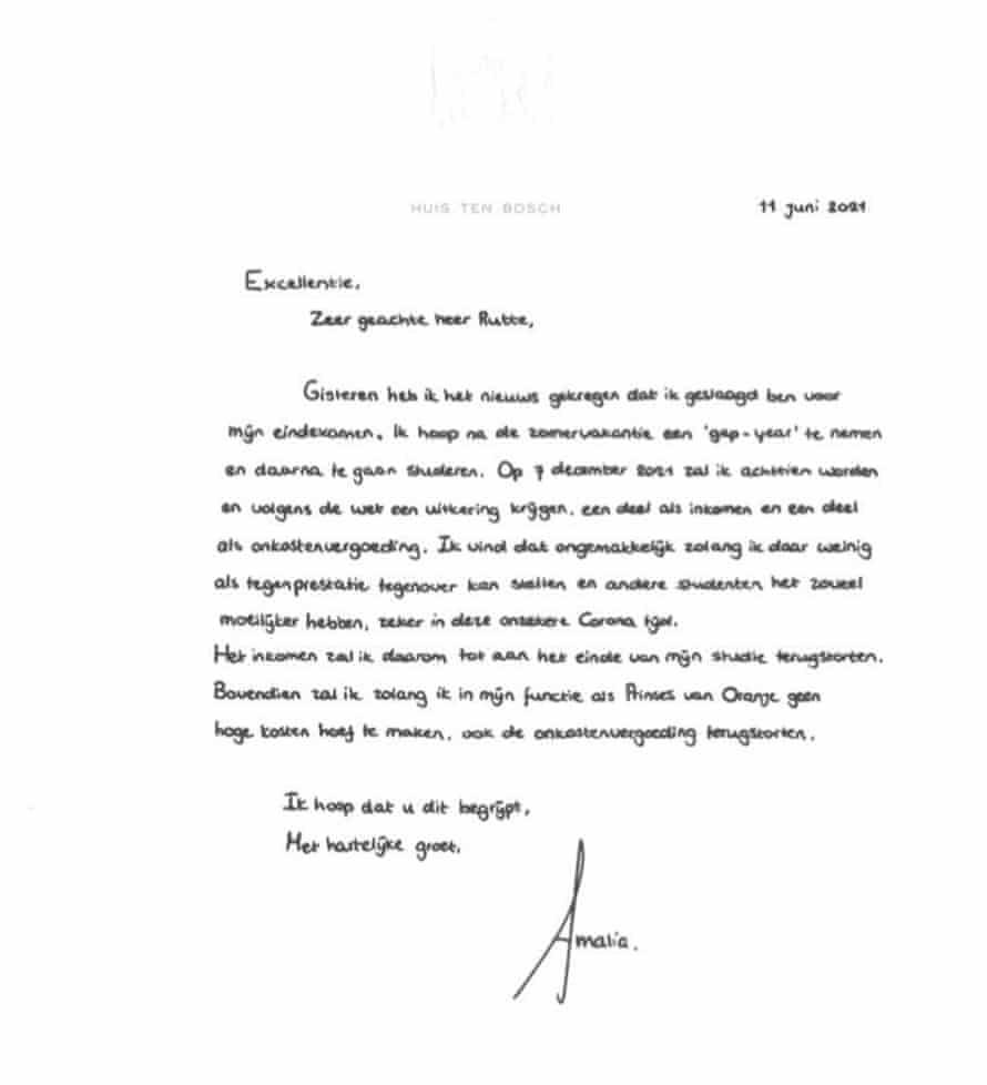 Princess Amalia's letter.