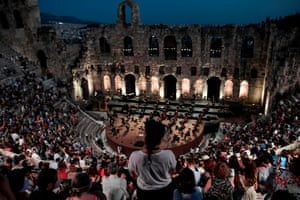 Athens, Greece The Greek National Opera performs at the Herodes Atticus ancient theatre at the foot of the Acropolis during a concert featuring a compilation of famous operas