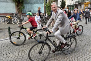 King Philippe of Belgium and princes Emmanuel and Gabriel during car-free Sunday in Brussels on 18 September