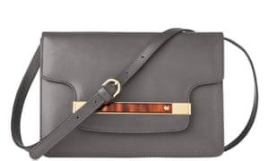 Grey leather cross-body bag