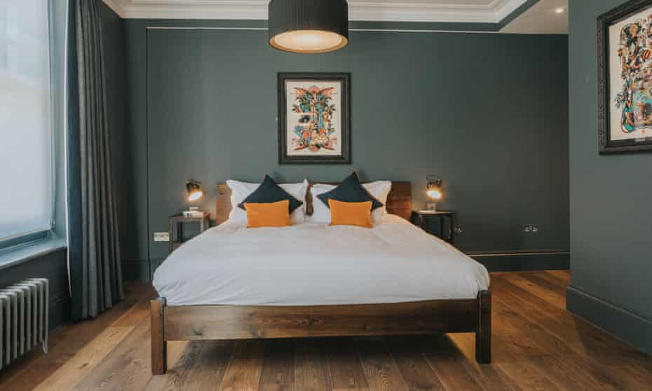 Clean slate: cool, grey bedroom at the Ginger Pig.