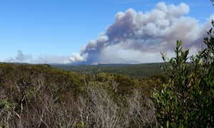 Smoke is seen from a bushfire burning in the Royal National Park, south of Sydney.