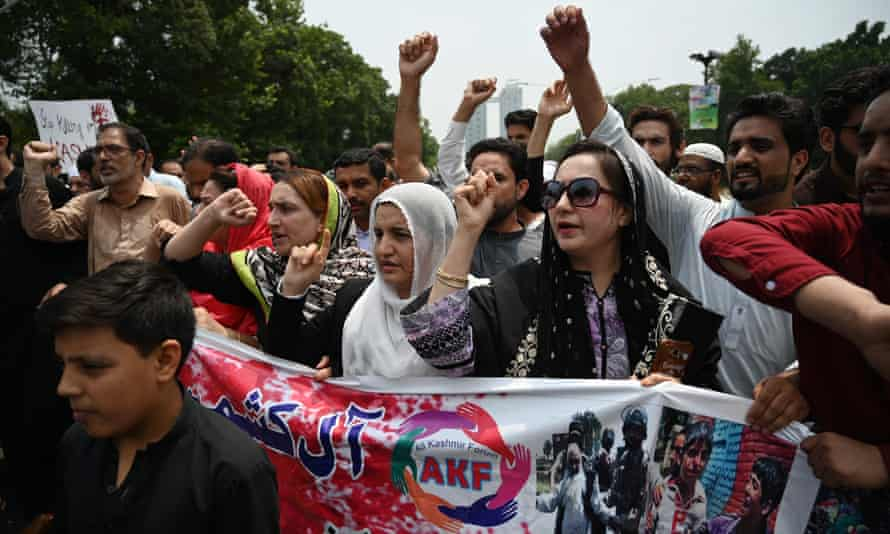 Pakistani Kashmiri protesters in Islamabad denounce the unrest in Indian-administered Kashmir.