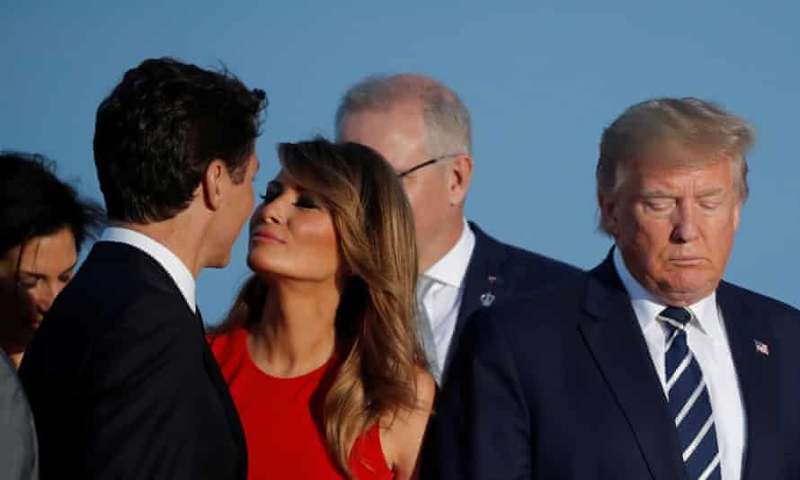 Former US first lady Melania Trump moves in to kiss Canada's prime minister, Justin Trudeau, at the G7 summit in Biarritz, France, in 2019.