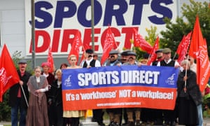 Unite union members dressed as Dickensian workers protest against zero-hours contracts, outside the headquarters of Sports Direct in Shirebrook, Derbyshire.