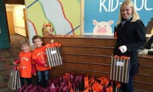 woman children gift bags
