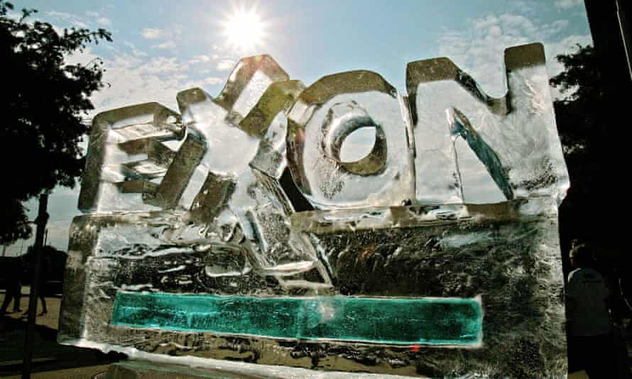 An ice sculpture fashioned by protesters, to demonstrate their view of how the company's policies are affecting the environment, slowly melts outside an Exxon Mobil shareholders meeting in Dallas in 2006.