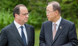 François Hollande, left, pictured with UN secretary general Ban Ki-moon, at the G7 summit on Friday.