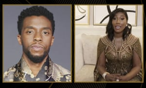 Taylor Simone Ledward Boseman accepts the award for best actor in a motion picture drama for Ma Rainey's Black Bottom on behalf of her late husband Chadwick Boseman.