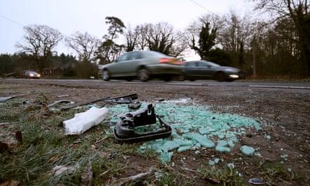 Debris at the scene where the Duke of Edinburgh was involved in a collision near the Sandringham estate on Thursday.