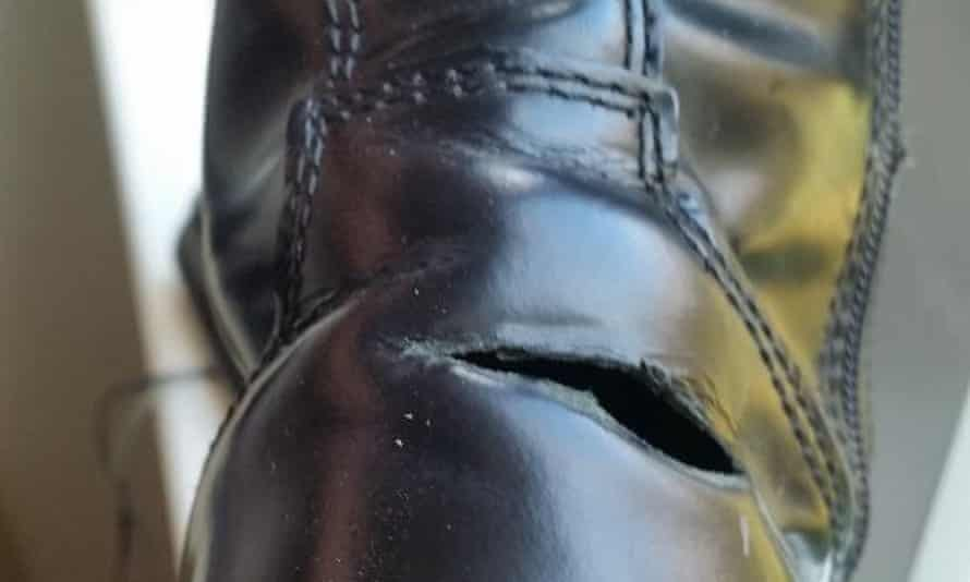 Tear in six-month old Dr Martens boot.
