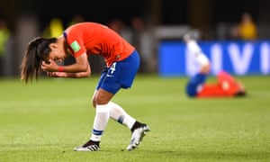 Francisca Lara contemplates her missed penalty, which cost her team a place in the World Cup last 16