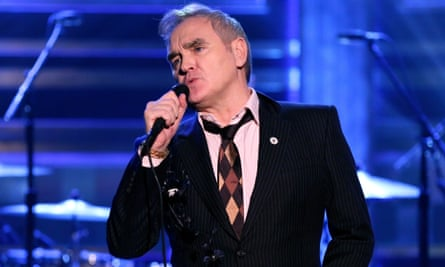 On target? Morrissey sports a badge for the far-right For Britain party on The Tonight Show Starring Jimmy Fallon on 13 May.