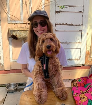 Kathryn Wilson at home with her dog